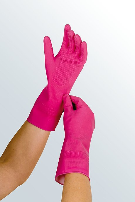 rubber gloves put on compression stockings